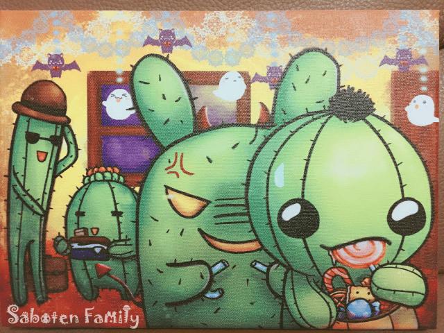[油畫布印刷]仙人掌家族--萬聖節之不給糖就偷吃