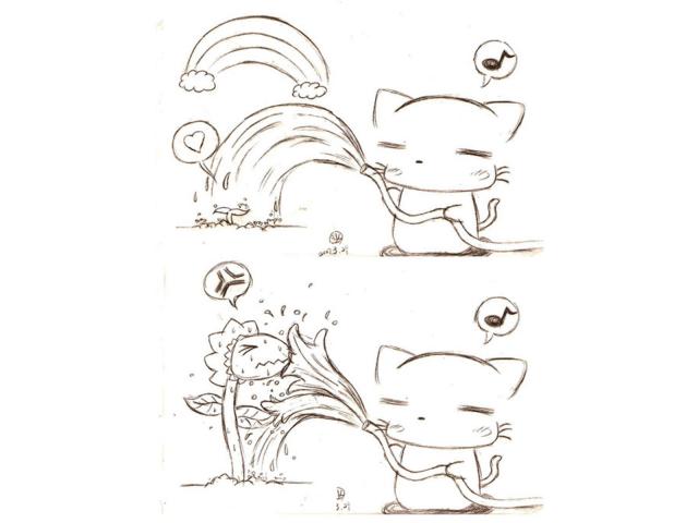 [手繪稿] 澆花?! (手繪)