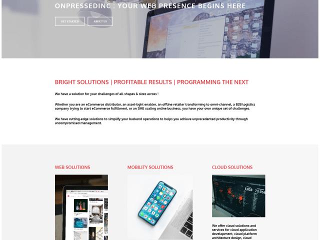 onPressed Inc. Wep Page Design