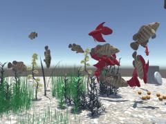 Interactive Artificial Aquarium using Leap Motion