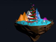 C4D浮空島嶼-聖誕夜空