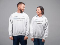 Couple wearing Tee Tweets Hoodie and Crewneck