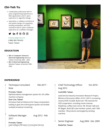 Resume Examples - Chi-Yeh Yu Professional with 5+ years programming experience in Web applications and 6+ years experience in algorithm design. Specializes in softwa...