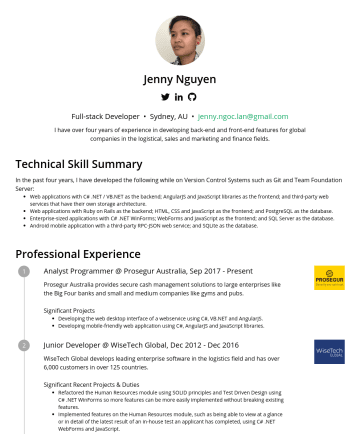 Full-stack Developer Resume Examples - Jenny Nguyen Full-stack Developer • Sydney, AU • jenny.ngoc.lan@gmail.com I have seven years of experience in developing back-end and front-end fea...
