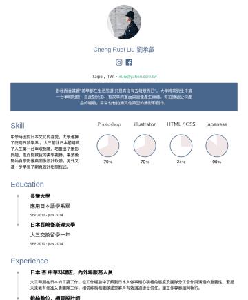 """攝影助理 Resume Examples - Cheng Ruei Liu-劉承叡 1992/08/• 新竹人,現居台北 • xui6@yahoo.com.tw """"美學都在生活周遭 只是有沒有去發現而已""""是我很喜歡的一句話。大學時拿到屬於第一台單眼相機,自此對光影、有故事的畫面與圖像產生興趣。喜歡的攝影類型是街拍與人像相關。平常會看pin..."""
