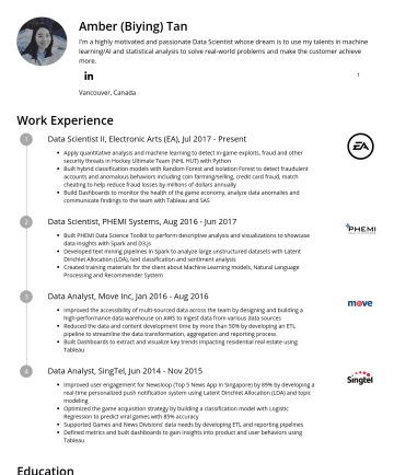 Data Science Resume Examples