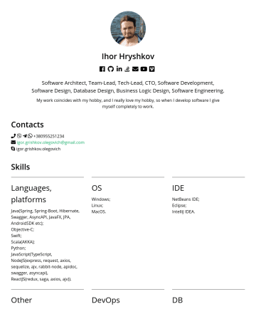 Software Architect, Team-Lead, Tech-Lead, CTO, Software Development, Software Design, Database Design, Business Logic Design, Software Engineering. Resume Examples - Ihor Hryshkov  Software Architect, Team-Lead, Tech-Lead, CTO, Software Development, Software Design, Database Design, Business Logic Design, Softw...
