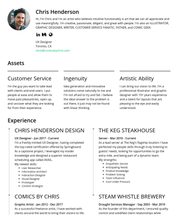 UX Designer Resume Examples - Chris Henderson I am a strategic thinker with creative problem-solving skills. I am well-spoken and can articulate my insights to internal teams, s...