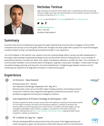 Resume Examples - Nicholas Tenhue High achieving and outcome-driven leader with a comprehensive skill set spanning research, design, planning, and implementation of ...