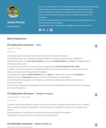 iOS Development Resume Examples