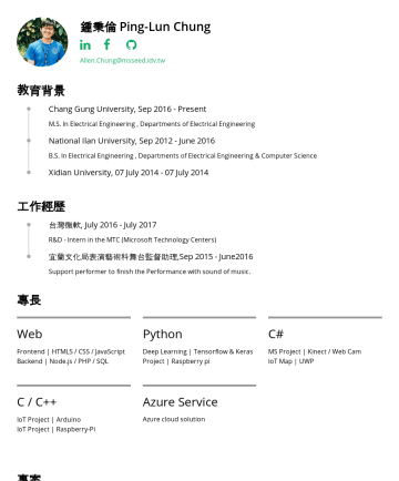 Resume Examples - 鍾秉倫 Ping-Lun Chung Allen.Chung@msseed.idv.tw 教育背景 Chang Gung University, SepPresent M.S. In Electrical Engineering , Departments of Electrical Engi...
