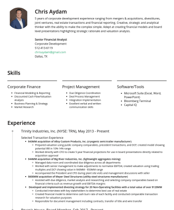 Private Equity Associate  Resume Examples - Chris Aydam 5 years of corporate development experience ranging from mergers & acquisitions, divestitures, joint ventures, real estate transactions...