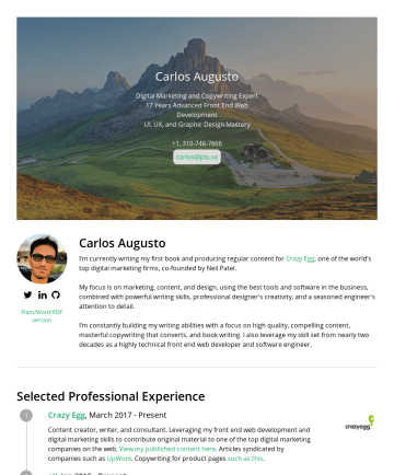 Internet Marketing Specialist 简历范本 - Access my Full Resume: Carlos Augusto Sr Front End Engineer (17 yrs) UI/UX ∷ Design ∷ Marketing carlosaugusto.net stacks.stars.ballotsI seek to con...