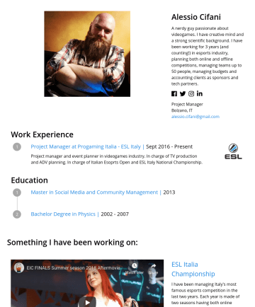 Producer Resume Examples - Alessio Cifani A nerdy guy passionate about videogames. I have creative mind and a strong scientific background. I have been working for 3 years (a...