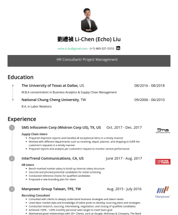 HR Consultant/ Project Managementの履歴書サンプル - 劉禮禎 Li-Chen (Echo) Liu echo.lc.liu@gmail.com ‧‧ HR Consultant/ Project Management Education The University of Texas at Dallas , US 08//2018 M.B.A c...
