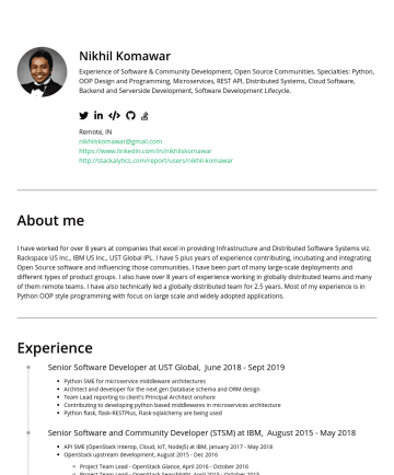 Software Engineer / Backend Engineerの履歴書サンプル - Nikhil Komawar Experience of Software & Community Development, Open Source Communities. Specialties: Python, OOP Design and Programming, Microservi...