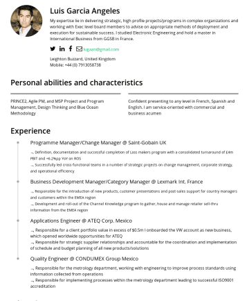 Program Manager, Project manager, Business Improvement Manager, Business Change Resume Examples - Luis Garcia Angeles My expertise lie in delivering strategic, high profile projects/programs in complex organizations and working with Exec level b...