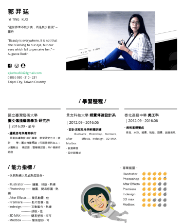 "Resume Examples - 郭 羿 廷 YI TING KUO ""這世界並不缺少美,而是缺少發現"" -- 羅丹 ""Beauty is everywhere. It is not that she is lacking to our eye, but our eyes which fail to perceive her...."