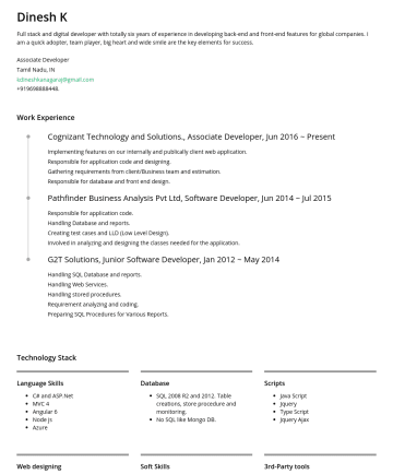 Associate Developerの履歴書サンプル - Dinesh K Full stack and digital developer with totally seven years of experience in developing back-end and front-end features for global companies...