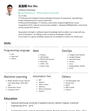 Senior Engineer Resume Examples - 吳逸翔 Rex Wu Software Developer rexwu513@gmail.com https://github.com/force1585 Hi, I'm Rex. IT Professional & Software Industry Background years of ...
