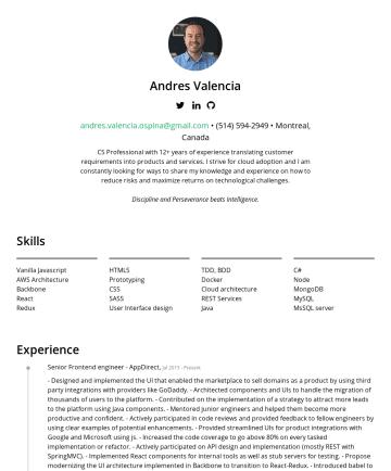 Andres Valencia's resume