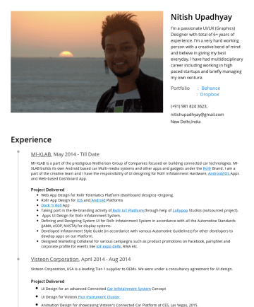 Resume Examples - Nitish Upadhyay I'm a passionate UI/UX (Graphics) Designer with total of 6+ years of experience. I'm a very hard working person with a creative ben...