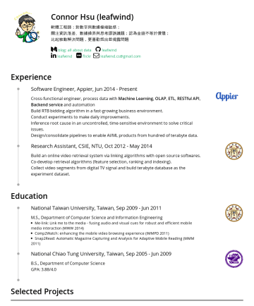 數據分析 / 資料工程 Resume Examples - Connor Hsu Curious about data and real world, build product to solve problem, make machine learning into product, writing is my interest. leafwind....