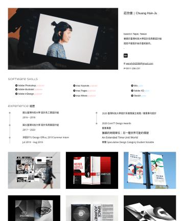Photoshop, Google Drive, WiX, Creo Parametric, InDesign, Keynote, Pages, Mac OS, Figma Resume Examples - 莊欣儒 | Chuang Hsin-Ju based in Taipei, Taiwan 畢業於臺灣科技大學設計系商業設計組 擅長平面設計結合藝術創作。 - E wendy342008@gmail.com Psoftware Skills Adobe Photoshop proficient ...