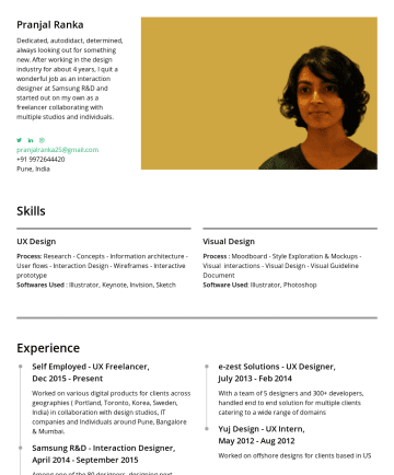 Resume Examples - Pranjal Ranka Experience Designer Dedicated and motivated with 5 years experience in the design industry. I am a quick, smart & an adaptable design...
