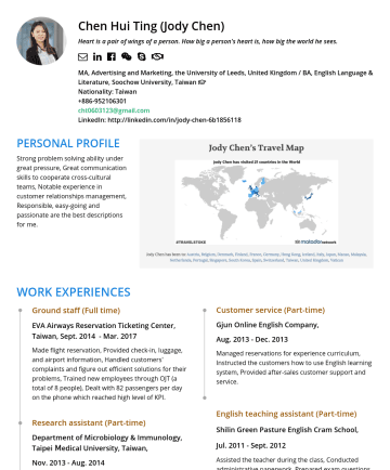 廣告行銷 Resume Examples - Chen Hui Ting (Jody Chen) Heart is a pair of wings of a person. How big a person's heart is, how big the world he sees.  MA, Advertising and Marke...
