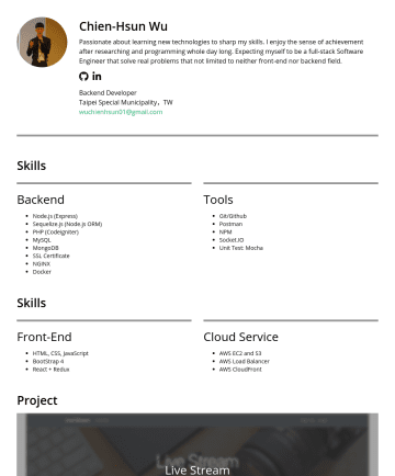 Backend Enginner Resume Examples - Chien-Hsun Wu Passionate about learning new technologies to sharp my skills. I enjoy the sense of achievement after researching and programming who...