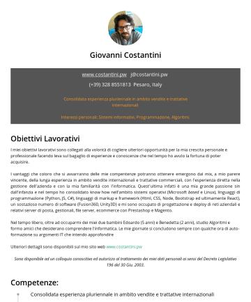 Resume Examples - Giovanni Costantini www.costantini.pw j@costantini.pwPesaro, Italy Consolidata esperienza pluriennale in ambito vendite e trattative internazionali...