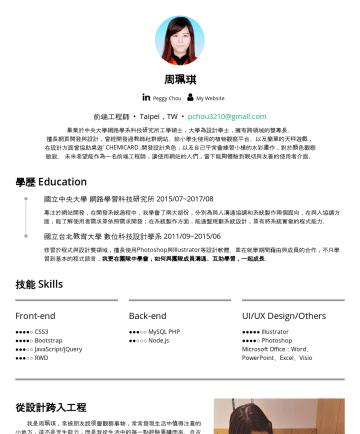 前端工程師,UIUX設計師 Resume Examples - 周珮琪 PeggyChou 前端工程師 Taipei,TW • pchou3210@gmail.com 畢業於中央大學網路學系科技研究所工學碩士,大學為設計學士,擁有跨領域的雙專長。 擅長網頁開發與設計,曾經開發過教師社群網站、運用行動裝置作為教育用途的植物觀察平台、以及透過網站的教育遊戲開發...