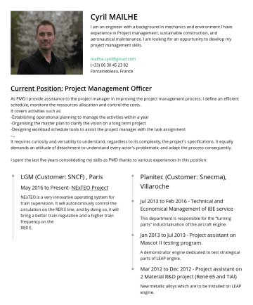 Resume Examples - Cyril MAILHE I am an engineer with a background in mechanics and environment I have experience in Project management, sustainable construction, and...