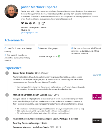 Sales Director | Marketing Director | eCommerce Director | General Manager Resume Examples - Javier Martinez Esparza Senior exec with +15 yrs experience in Sales, Business Development, Business Operations and General Management in the IT&Te...