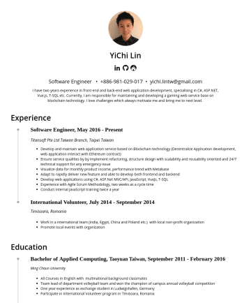 Software Engineer  Resume Examples - YiChi Lin(林依錡) Data Engineer & Analyst • yichi.lintw @gmail.com Experience Data Engineer & Analyst, NovemberPresent Zeppelin Lab GmbH, Berlin Germa...
