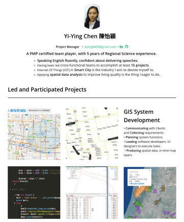 Product Managerの履歴書サンプル - Yi-Ying Chen 陳怡穎 Product Manager • yiying.chen@finatext.com • •  A PMP certified PM, with 6 years Experience in Software and Spatial Planning. Spe...