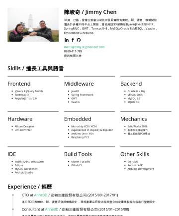 Developer Team Leader, Architect, FullStack Developer Resume Examples - 陳峻奇 / Jimmy Chen 35歲、已婚,曾擔任新創公司技術長並實際負責軟、韌、硬體、機構開發 擅長於多種不同平台上開發,曾使用語言/架構包括Java/JavaEE/JavaFX,SpringMVC,GWT,Tomcat 5~9,MySQL/Oracle 8i~12c/MSSQL,Vaa...