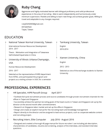 Resume Examples - Ruby Chang Professional and highly motivated learner with bilingual proficiency and solid professional experiences in China, Taiwan, Hong Kong, Jap...
