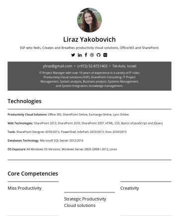 履歷範本 - Liraz Yakobovich IT Professional Expert Who feels, Creates and Breathes Salesforce CRM & Productivity Cloud Solutions. y liraz@gmail.com • Tel-Aviv...