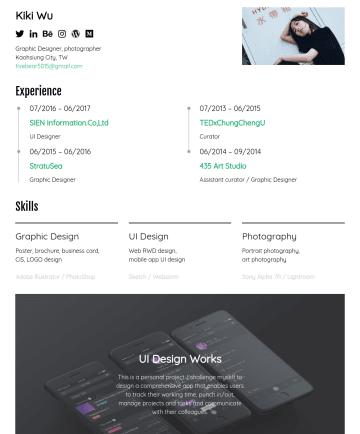 UI Designer Resume Examples - Kuan-Yi Wu kikiwu.myportfolio.com Graphic Designer, photographer / San Jose, CA, USA kikiwu404@gmail.com Education 08/2018- MFA, San Jose State Uni...