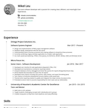 履歷範本 - Mikel Leu mikelpleu@gmail.comHouston TX) Lead Full Stack Software Engineer linkedin.com/in/mikelleu Experience Inside Petroleum, Inc. Lead Full Sta...