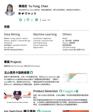 資料分析師、資料科學家の履歴書サンプル - 陳禹彤 Yu-Tung, Chen 財金背景的Data Science愛好者。專長為機器學習、資料分析,擁有強大的自學能力。 | | | Taipei,TW 技能 Data Mining Python - numpy, pandas , sklearn , seaborn , graphviz...