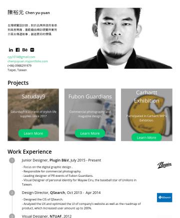 简历范本 - 陳裕元 Chen yu-yuan 台灣視覺設計師,對於品牌與使用者感到高度興趣,喜歡藉由精彩視覺與實用介面去傳遞故事,創造更好的價值。 cyy1014@gmail.com chenyuyuan.myportfolio.comTaipei, Taiwan Projects Satuday9 Sa...