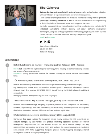 Resume Examples - Tibor Zahorecz Business development specialist with a strong focus on sales and early stage validation with over 15 years of experience in sales an...
