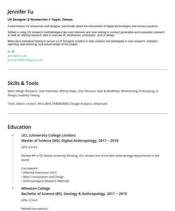 Content Writer/UX writer/寫手/Freelancer Resume Examples - Jennifer Fu UX Designer & Researcher // Taipei, Taiwan A well-trained UX researcher and designer passionate about the intersection of digital techn...
