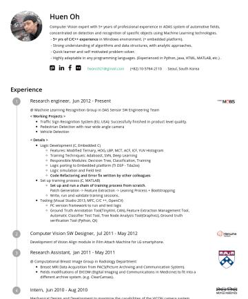 Huen Oh's resume