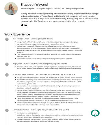 Head of People & Culture Resume Examples - Elizabeth Weyand Head of People & Culture | Los Angeles, California, USA | e.l.weyand@gmail.com Building dream companies in partnership with compan...