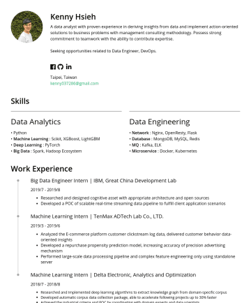 Resume Examples - Kenny Hsieh A data analyst with proven experience in deriving insights from data and implement action-oriented solutions to business problems with ...