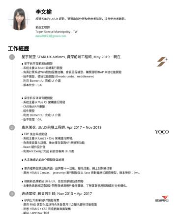 前端工程師 Resume Examples - 李文榆 超過五年的 UI/UX 經驗,透過數據分析和使用者訪談,提升使用者體驗。 前端工程師 Taipei Special Municipality,TW dora80823@gmail.com 工作經歷 星宇航空 STARLUX Airlines, 資深前端工程師, May 2019 ~ 現...
